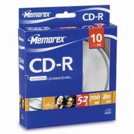 Service Manual Aufnahme-Medien ist MEMOREX CD-R 700 MB, 52 X, 10-Kuchen