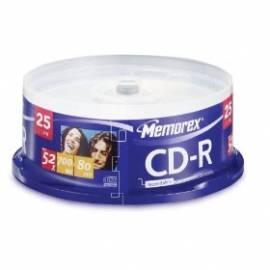 Aufnahme-Medien ist MEMOREX CD-R 700 MB, 52 x, 25-Kuchen (ME0013) Bedienungsanleitung