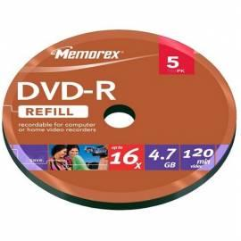 Aufnahme mittlerer MEMOREX 4,7 GB 16 x 5-Spindl Bulk (DVRME0161) Gebrauchsanweisung