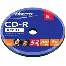 Bedienungshandbuch Aufnahme mittlerer MEMOREX bulk 700MB 52 x 5-Spindl (CDRME0163)