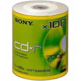Benutzerhandbuch für SONY recording Media 100CDQ80BULK-SPE