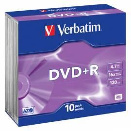 Disk DVD + R VERBATIM 4, 7GB 16 x Silber, slim-Box, 1ks Gebrauchsanweisung