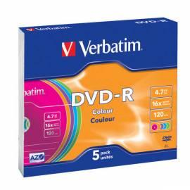 Handbuch für Festplatte VERBATIM DVD-R 4, 7GB 16 x slim Farbenkasten, 5ks