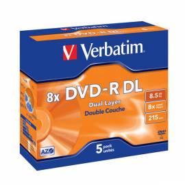 Handbuch für Aufnahme Medium VERBATIM DVD-R 8,5 GB DL 8 x Jewel-Box, 5ks/Pack (43596)