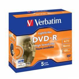 Benutzerhandbuch für Aufnahme Medium VERBATIM DVD-R(5-pack) LightScribe/Juwel/16 x / 4, 7 GB (43621)