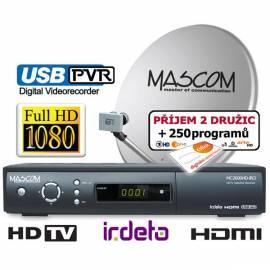 Service Manual Satelliten MASCOM MC-2600HD/80MBL + Karte CSLink (1rok), Empfang von zwei Satelliten schwarz