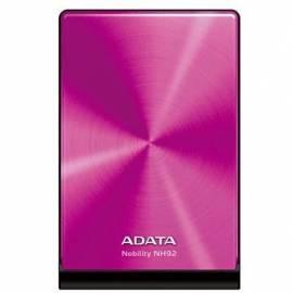 Externe Festplatte A-DATA NH92 1 TB, USB 2.0 (ANH92-1TU-CPK) Rosa Gebrauchsanweisung