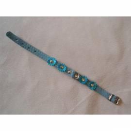 Datasheet Halsband Wildleder Beatin 12mmx25cm mit Blumen, blau