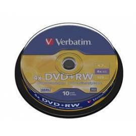 Service Manual Disk DVD + RW VERBATIM (10-Pack)Spindle4x/DLP/4.7GB