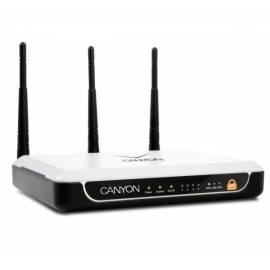 Bedienungsanleitung für Wireless Router-CANYON, 802.11b/g/n AP, 300MBit, 1WAN, 4LAN (1 Gbit/s), USB, DHCP Srvr, weiß/schwarz