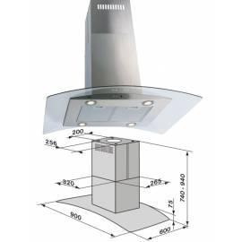 Dunstabzugshaube Meer OP57120090 Aluminium/Glas